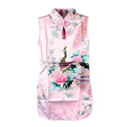 Weixinbuy Kid Girls Sleeveless Peacock Printed Chinese Cheongsam Dress Pink