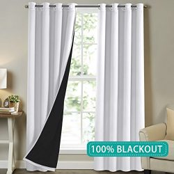 Patio Door Curtain Panels 108 Inch Full Blackout for Bedroom Faux Silk Curtains Extra Long 2 Pan ...