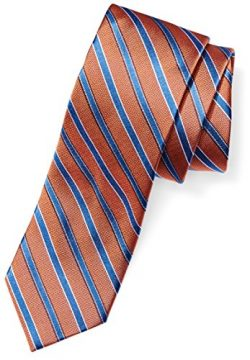 Buttoned Down Men's 100% Silk Necktie, orange/blue stripe, Regular