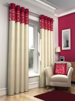 Red Retro Lined Eyelet Curtains, Faux Silk, Skye, 66×72 by Ideal Textiles