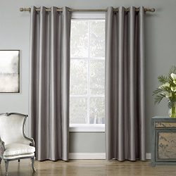 Leyden (1 Panel) Grommet Top Faux-Silk Doupion Insulated Room Darkening Soild Multi-Colors Curta ...