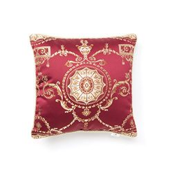 Violet Linen Prestige Damask Decorative Cushion Cover, 18″ x 18″, Burgundy