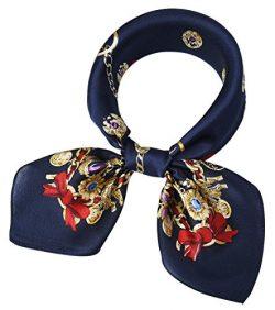 corciova Women 100% Mulberry Silk Neck Scarf Small Square Scarves Neckerchiefs Dark Midnight Blu ...
