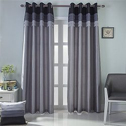 GYROHOME Fully Lined Luxury Faux Silk Blackout Curtains Thermal Insulated Room Darkening Engery  ...