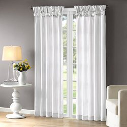 Madison Park White Curtains For Living room, Transitional Fabric Curtains For Bedroom, Solid Emi ...