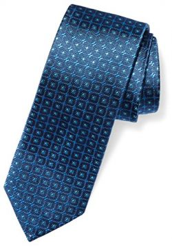 Buttoned Down Men's 100% Silk Necktie, navy windowpane, Regular