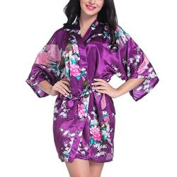 Admireme Womens Kimono Robes Peacock and Blossoms Satin Silk Nightwear, Dark Purple, Large