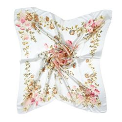 "ETSYG 32"" Silk Scarf Women's White Flower Pattern Large Square Satin Headscarf Headdress"
