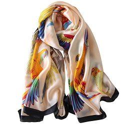 JIUMAN Womens 100% Mulberry Silk Scarf Long Satin Scarf Fashion Designer Scarf Lightweight Neck Wear
