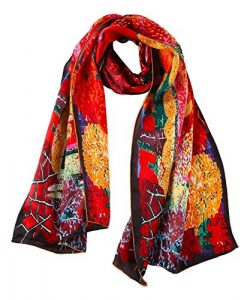 YangtzeStore Women's 100% Luxurious Long Silk Scarf Classic Art Collection (Red)
