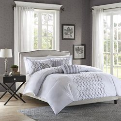 Madison Park Iris Duvet Cover King/Cal King Size – Silver, Embroidered Geometric, Wrinkled ...