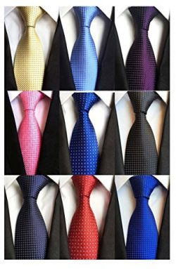 Weishang Pack of 6 Men's Classic Tie Silk Necktie Woven Jacquard Neck Ties (9 pack-Set 12)