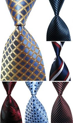 Wehug Lot 6 PCS Men's Ties 100% Silk Tie Woven Slim Necktie Jacquard Neck Ties style004