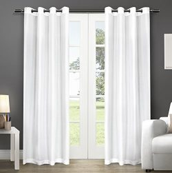 Exclusive Home Chatra Faux Silk Window Curtain Panel Pair with Grommet Top, Winter White, 54&#21 ...