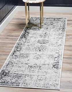 Unique Loom Monaco Collection Traditional Vintage Gray Home Décor Runner Rug (2′ x 7′)