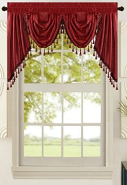 All American Collection New Attached Solid Faux Silk Double Waterfall Valance with Tails