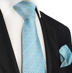 Turquoise Polka Dots Paul Malone Silk Tie and Pocket Square Set