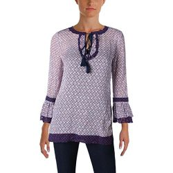 Tory Burch Womens Gwenna Silk Contrast Trim Tunic Top Blue 12