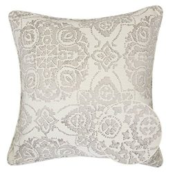 Home Accent Pillows Homey Cozy Jacquard Cotton Throw Pillow Cover,Cream Gray Unique Floral Retro ...