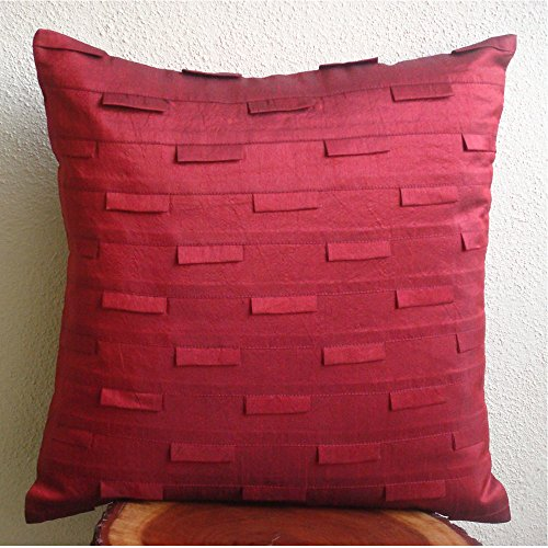 Deep Red Pillow Covers 18 x 18 inches, Handmade Deep Red Throw Pillows Cover, Pintucks Textured  ...