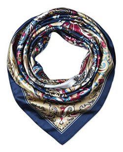 corciova 35″ Large Women's Satin Square Silk Feeling Hair Scarf Wrap Headscarf Golde ...