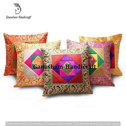 Ganesham Handicraft – Indian Ethnic Traditional Vintage Home Decor Cushion Cover, Indian S ...