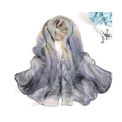 MELODY STORY Unique Print Silk Feeling Scarf For Women 63×20 Inches(gray)