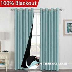 H.VERSAILTEX 100% Blackout 2 Panels Energy Saving Natural Lined Curtains for Bedroom/Living Room ...