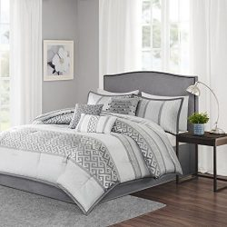 Madison Park Bennett Queen Size Bed Comforter Set Bed In A Bag – Grey, Jacquard Geometric  ...