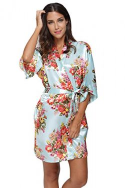 KimonoDeals Women's dept Satin Short Floral Kimono Robe for Wedding Party, Aqua M