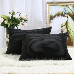 Pack of 2 Decorative Throw Pillow Covers Cases for Couch Bed Sofa,Striped Corduroy Velvet Cushio ...