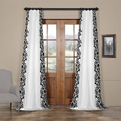 HPD HALF PRICE DRAPES PTFFLK-C36A-120 Castle Flocked Faux Silk Curtain, White & Black, 50 x 120