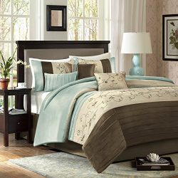 Madison Park Serene Queen Size Bed Comforter Set Bed In A Bag – Blue, Embroidered – 7 Piec ...