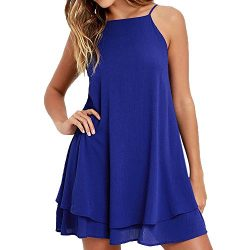HGWXX7 Women Summer Casual Plus Size Solid Chiffon Strap Beach A-Line Mini Dress (M, Blue-1)