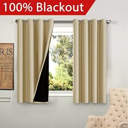 Flamingo P Full Blackout Wheat Curtains Faux Silk Satin with Black Liner Thermal Insulated Windo ...