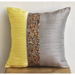 Light Grey Pillow Cases, Pintucks and Sequins Antique Pillows Cover, 18″x18″ Pillow  ...