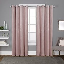 Exclusive Home Velvet Heavyweight Window Curtain Panel Pair with Grommet Top, 54×108, Blush ...