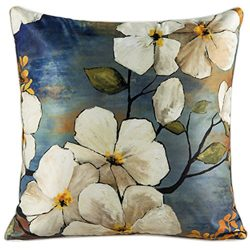 ChezMax Faux Silk Blend Big Sakura flower Pattern Sofa Seat Cushion Cotton Square Decorative Thr ...