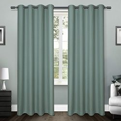 Exclusive Home Loha Linen Window Curtain Panel Pair with Grommet Top 54×108 Blue Teal 2 Piece