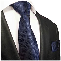 Extra Long Navy Blue Silk Men's Tie and Pocket Square by Paul Malone