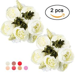 Ogrmar Vintage Artificial Peony Silk Flowers Bouquet for Decoration (White x2)