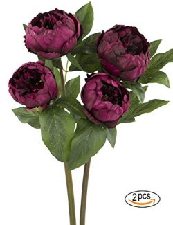 Rinlong Artificial Peony Vintage Silk Flowers Stems 2pcs Wine Red for Floral Arrangements Home D ...