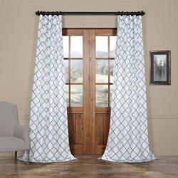 HPD HALF PRICE DRAPES Half Price Drapes PTFFLK-C22C-108 Flocked Faux Silk Curtain, 50 x 108, Jade