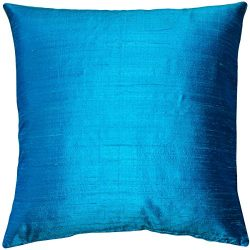 Pillow Decor Sankara Peacock Blue Silk Throw Pillow 18×18