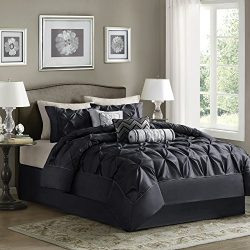 Madison Park Laurel Queen Size Bed Comforter Set Bed In A Bag – Black, Wrinkle Tufted Plea ...