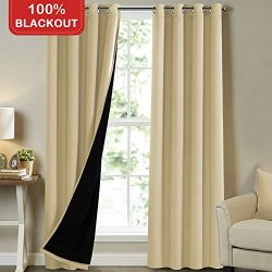 Turquoize Full Blackout Curtains 108 inch Long Insulated Blackout Curtains for Outdoor Patio Doo ...