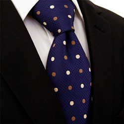 Intrepid Handmade Polka Dot Multi-color Executive Men's Tie, Blue , White , Gold , Polka D ...