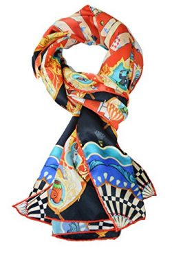 ELEGNA Women 100% Silk Art Collection Scarves Long Shawl Hand Rolled Edge (A-Circus)