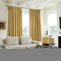 TWOPAGES 100 W x 84 L Pinch Pleat Faux Silk Blackout Curtains Drapery Panel For Traverse Rod Or  ...