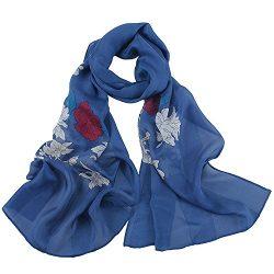 Silk Scarf Women, IRRANI silk scarves Thin and light Neckerchief The best gift (navy)